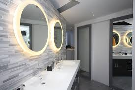 grey round side bathroom contemporary with gray trim oval wall mirrors