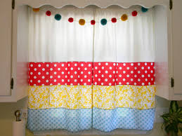 red kitchen curtains curtain valance red white ticking emmett