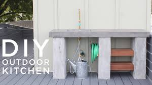 diy outdoor kitchen with concrete countertops and sink youtube