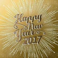 happy new year 2017 greeting card gold text with sky