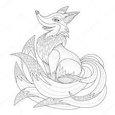 graceful fox coloring page u2014 stock vector kchungtw 82669868