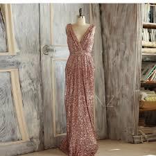 rose gold bridesmaid dress sequin long gold wedding dress