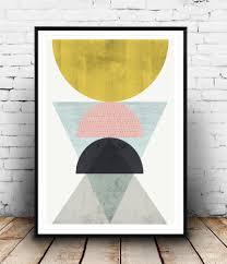 geometric wall art abstract art print watercolor minimalist