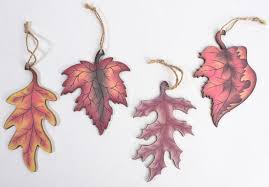 assorted decoupaged wooden fall leaf ornament signs ornaments