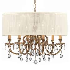 Chandelier With White Shade Crystorama Crystorama Brentwood 6 Light Drum Shade Brass Chandelier
