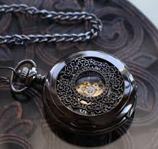Engraved Wedding Gifts Antique Black Personalized Wedding Gift Mechanical Pocket Watch