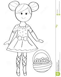 hand drawn coloring page of a ballerina with a fruit basket