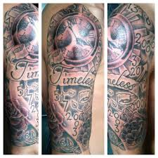 clock tattoo on hand words rose and clock tattoos on half sleeve photos pictures and