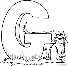 printable preschool alphabets uppercase letter g goat coloring