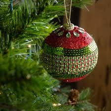 100mm ornaments set of 4 lime green glitter