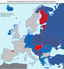 Language Map Of Europe by Number Of Grammatical Cases Currently In Use In European Languages