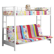 Twin Over Futon Bunk Bed Amazon Com Sturdy Metal Twin Over Futon Bunk Bed In White Finish