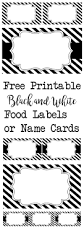Name Cards For Graduation Invitations Black And White Food Labels Or Name Cards Paper Trail Design
