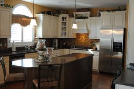 100 kitchen with brick backsplash small gray island with