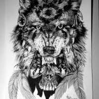 native black and white wolf over skull tattoo design