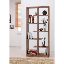 Tall Brown Wooden Room Divider Shelves With Some Racks On The