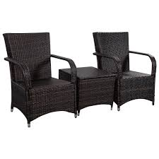 Black Outdoor Wicker Chairs 3 Pcs Patio Pe Rattan Wicker Cushioned Seat Outdoor Furniture