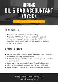 accountant nysc needed in an oil and gas company business