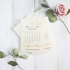 calendar save the date pale gold foil pressed calendar wedding save the date