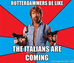 Chuck Norris Meme Generator - rotterdammers be like the italians are coming chuck norris meme