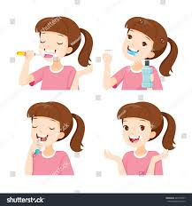 cleaning teeth set medical dentistry stock vector 440125297