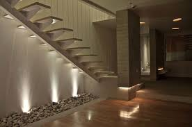 beautiful stair lighting interior with gravel decoration and