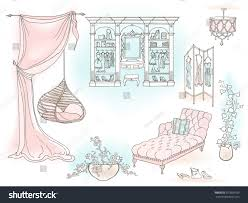 gentle female room dream boudoir hanging stock vector 657096163