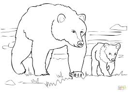 grizzly bear coloring cub christmas pages teddy face coloring