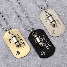 engraved dog tags for men army bullet dog tag pendant necklace women men rock hip hop