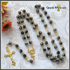 catholic rosary online catholic gold chain black cloisonne rosary necklace jesus cross
