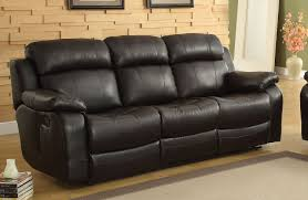 Black Leather Reclining Sofa And Loveseat Homelegance Marille Recliner Sofa With Drop Center Cup Holder