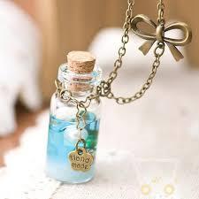 bottle necklace images Blue sea glass bottle necklace jpg