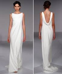 sheath style white wedding dress with high boat neck and draped