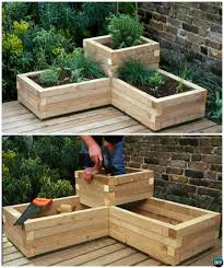 Diy Garden Bed Ideas Diy Corner Wood Planter Raised Garden Bed 20 Diy Raised Garden Bed