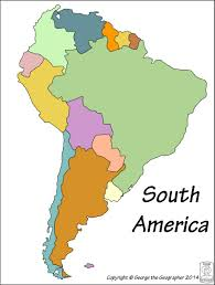 Map Of South America With Countries by Outline Base Maps
