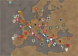 Map Of Medieval England by Map Of Europe Showing The Arms Of Medieval Countries And Provinces