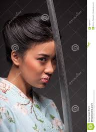 japanesse women with grey hair japanese woman with katana stock photo 49391844 megapixl