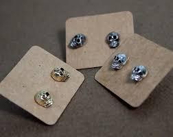 skull stud earrings getsweethj artfire shop gallery