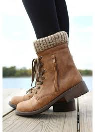 sweater lined foldover combat boots brown combat boots with sweater top on the hunt