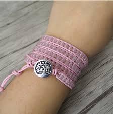 wrap cuff bracelet images Egret jewellery uk pink natural rose quartz beaded leather wrap png
