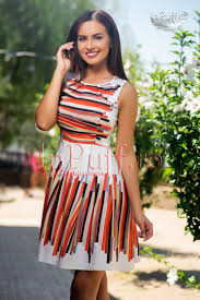 rochii de zi rochie de zi in clos imprimeu cu linii