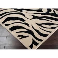 hand tufted black white zebra animal print glamorous wool rug 8