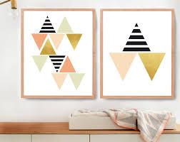 Modern Nursery Wall Decor Modern Wall Decor For Gold Triangle Wall Etsy Cheap