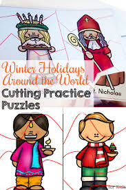 winter holidays around the world cutting practice puzzles simple