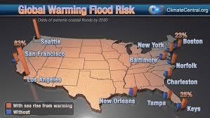 New Orleans Flood Map by Global Warming Coastal Flood Risk Surging Seas Sea Level Rise