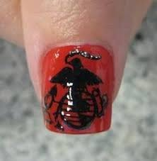 usmc dress blues nails with his initials nails pinterest