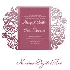 wedding pocket envelopes peonies cut wedding invitation 5x7 gate fold card template