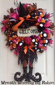 party city halloween decorations halloween deco mesh witch wreath in orange pink and black with