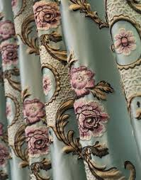 Faux Silk Embroidered Curtains Pale Blue Embroidered Silk Taffeta Drapes Maybe Master With Simple