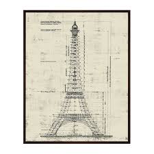 la tour eiffel architectural drawing sepia 17 75